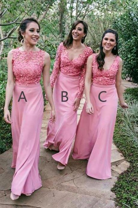 Mismatched Pink Appliques Chiffon Floor Length Long Bridesmaid Dress,B2704