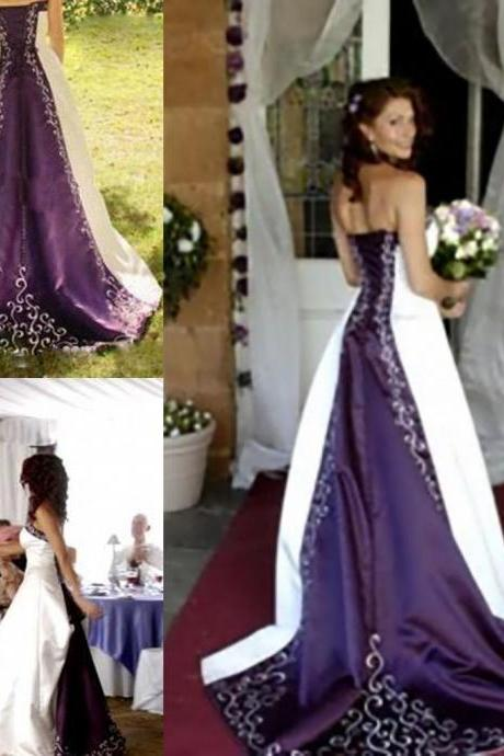 Hot White and Purple Wedding Dresses 2019 Embroidery Vestido de Custom made A-Line Strapless Lace up Back Chapel Train Bridal Gowns,P2739
