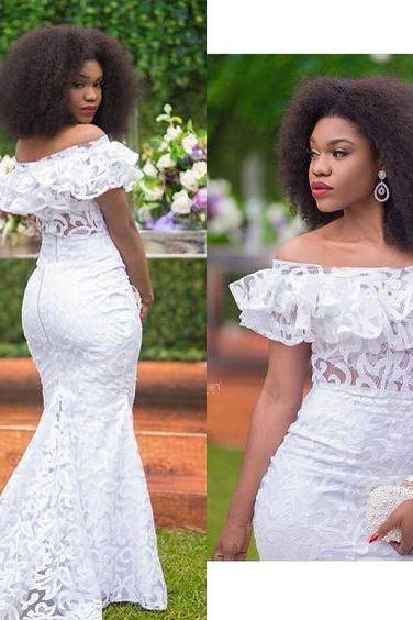 White Mermaid Black Girl African Girl Prom Dresses Off the Shoulder Lace Evening Formal Gowns Vestidos,W2740