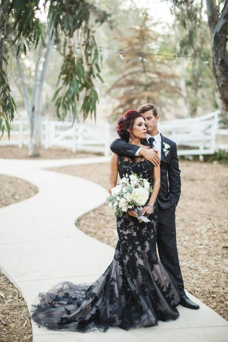 Vintage Black Mermaid Tulle Wedding Dresses Sheer Crew Neck Appliques Bridal Gowns,P2747