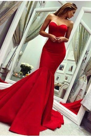 Glamorous Sweetheart Sleeveless Prom Dress | Red Mermaid Evening Gowns,P2762