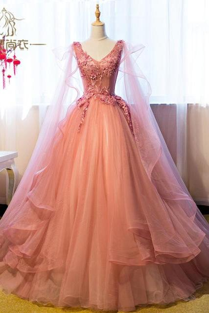 Luxury Appliqued Puffy Long Prom Dress,Princess Ball Gown Prom Dresses,Princess Evening Gown,P2780