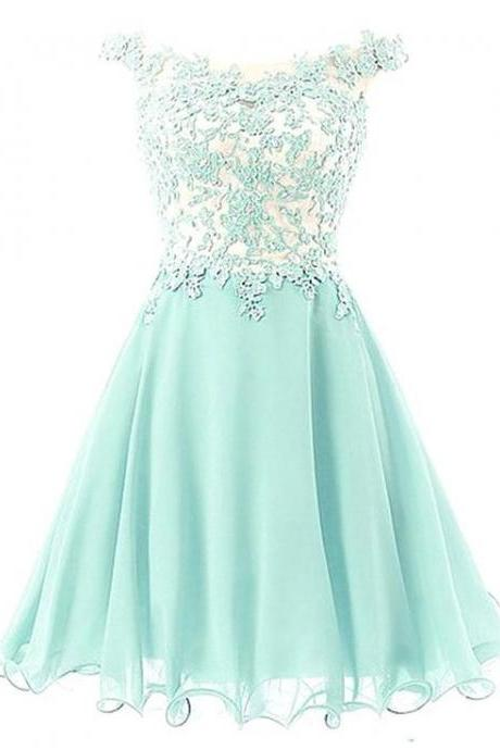 Off-shoulder Applique Mint Green Homecoming Dress with Embellishment,H2797