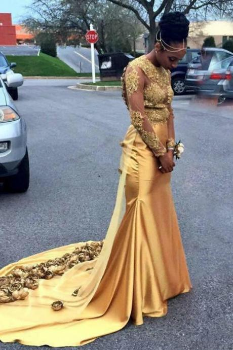 Gold Mermaid Satin Appliques Long Sleeve Backless Prom Dress,P2800