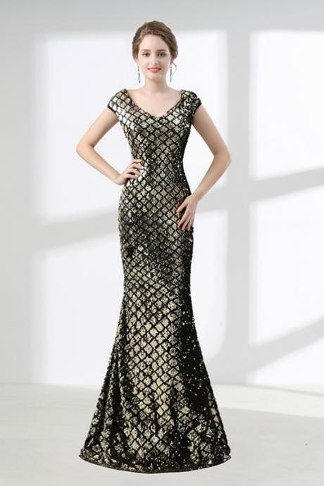 Gold Mermaid V-neck Cap Sleeve Sequins Prom Dress,P2804