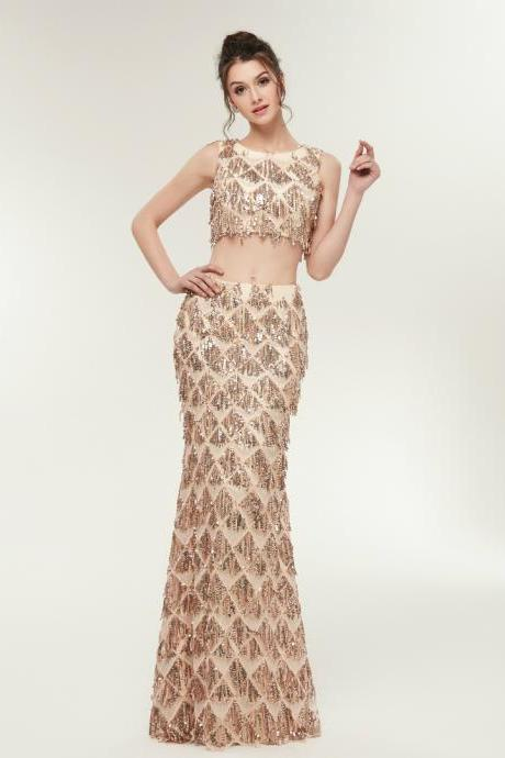Gold Mermaid Scoop Neck Two Piece Backless Sleeveless Prom Dress,P2806
