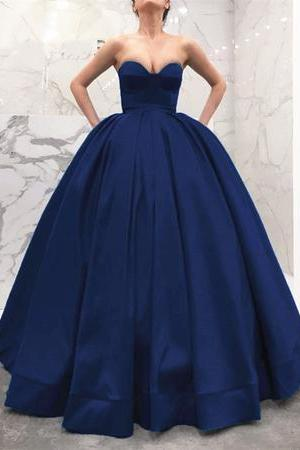 Strapless Sweetheart Bodice Corset Satin Ball Gowns Prom Dresses,P2883