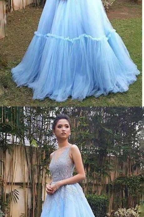 Sky Blue A Line Tulle V Neck Long Prom Gown,Sweet Dress,P2900