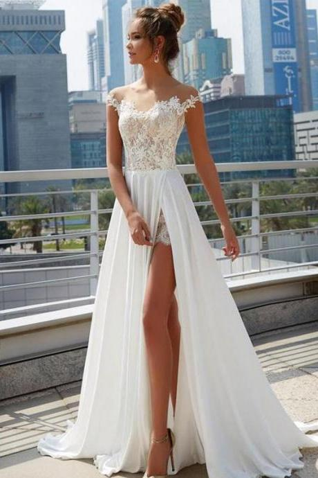 Off Shoulder See Through Cheap Wedding Dresses Online, Side Slit A-line Bridal Dresses,,W2914
