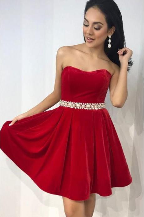 Elegant Fleece Strapless Neckline A-line Homecoming Dresses With Rhinestones ,H2943