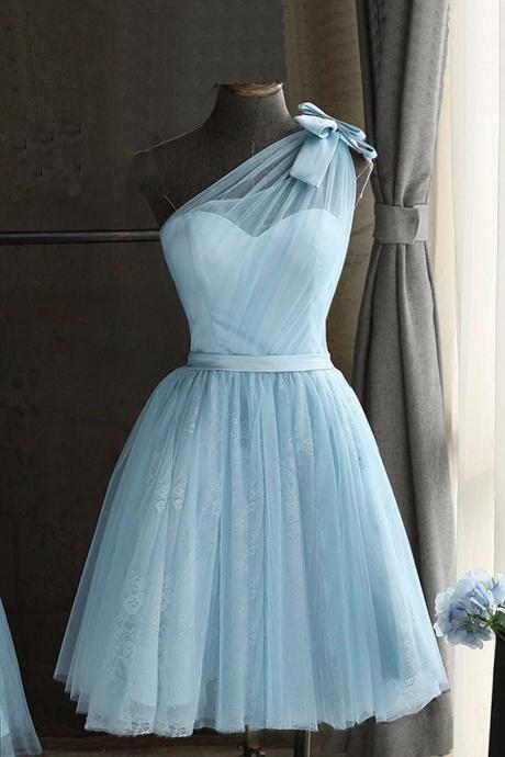 Baby blue tulle one shoulder short prom dress, bowknot party dress,H2973
