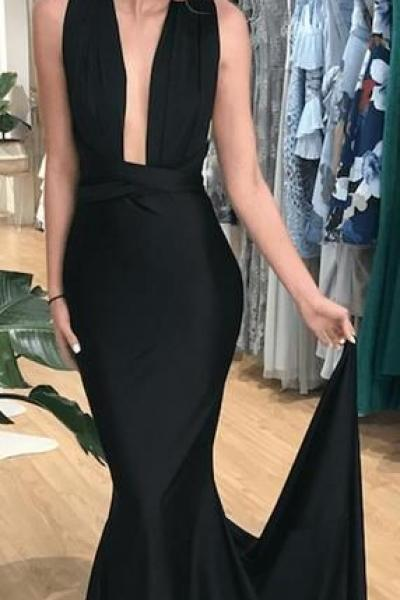Simple Convertible Black Mermaid Prom Dresses, Long Popular Prom Dresses,P2977