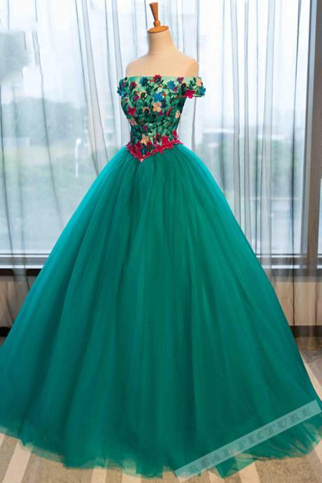 Green tulle applique off-shoulder A-line prom dress,ball gown dress for teens,P2985