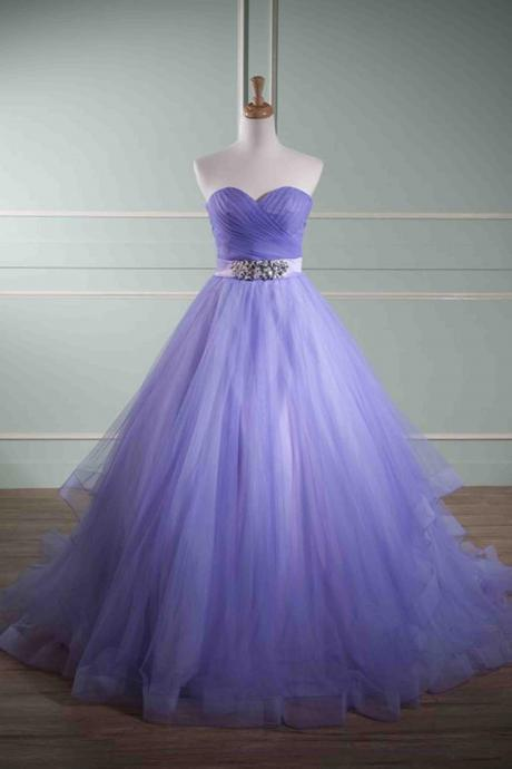 Purple tulle sweetheart train ball gown dresses,P2986