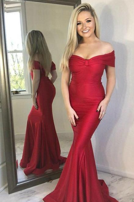 Mermaid Off the Shoulder Long Red Satin Long Prom Party Dress,P3012
