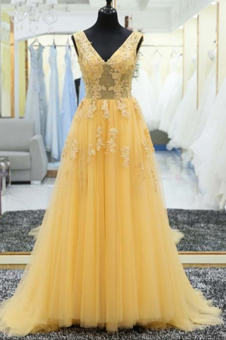 Yellow tulle tulle lace applique V-neck long prom dress, evening dresses,P3021