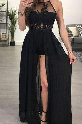 Sexy Backless Halter Black Lace Evening Prom Dress, Popular Sexy Party Prom Dresses, Custom Long Prom Dresses,P3031