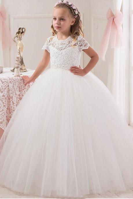 2018 White Lace Ball Gown Flower Girl Dress For Wedding Princess Girls Pageant Dress Short Sleeve Kids Vestidos De Comunion,FG3034