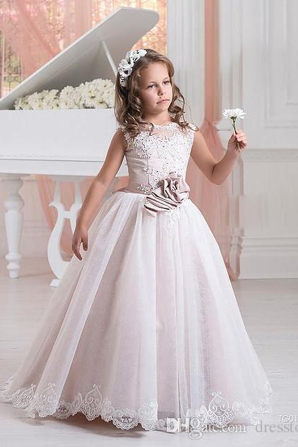 2017 New Lace Flower Girl Dresses For Weddings Appliques Kids Pageant Gowns Tulle Beaded Party Communion Dress With Sash,FG3035