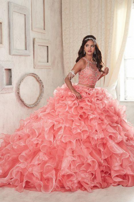 2018 Modest Ruffles Two Pieces Coral Quinceanera Dresses Sweet 16 Lace Organza Plus Size Masquerade Sheer Prom Occasion Dress,,P3043