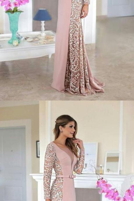 V-Neck Lace Prom Dress, Generous Long Sleeves Prom Dress, Long Stain Evening Dress,P3048