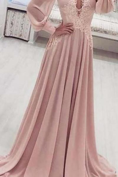 Long Sleeves Chiffon V-Neck Light Pink Prom Dresses, Beautiful High Quality Party Dress,P3049