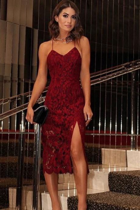 Spaghetti Straps Lace Burgundy Ankle Length Evening Dress With Slit,H