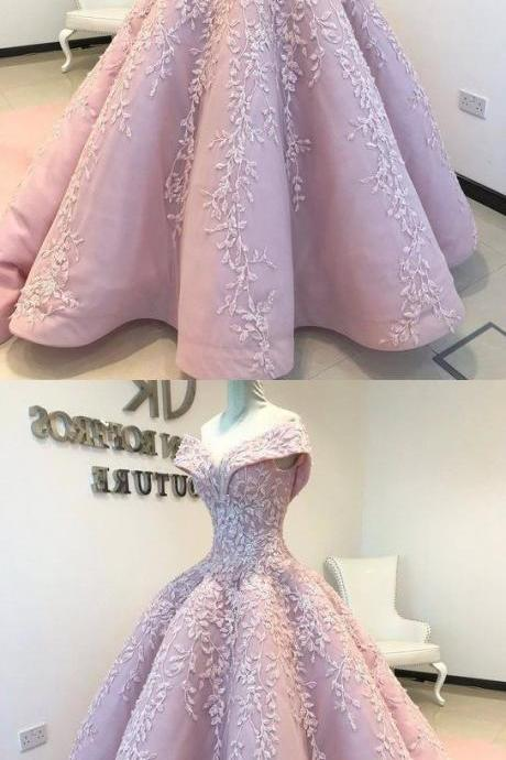 Ball Gown Off The Shoulder Lace Floor-Length Blush Pink Quinceanera Dress Sweet 16 Dresses For Girls,P3075
