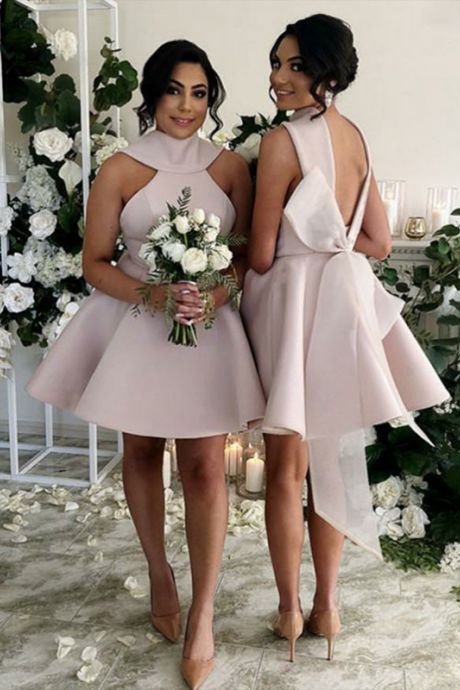 A-Line High Neck Blush Pink Satin Short Bridesmaid Dresses,B3104