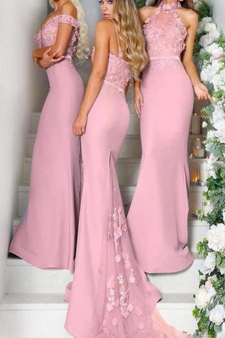 Fabulous Mismatched Mermaid Satin Long Bridesmaid Dresses With Appliques,B3108