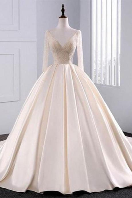 2018 Fashion Simple Beige Wedding Dresses Full Sleeve Modest Lace Satin Bridal Gowns for Wedding,W3118