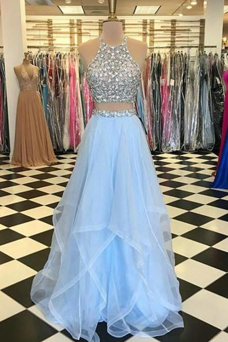Light Blue Prom Dresses with Pearls Beaded Rhinestones Tulle Ruffles Two Piece Prom Dress New Arrival,P3127