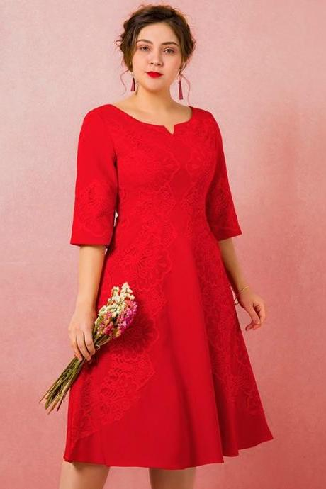 Plus Size Red Half Sleeve Lace Tea Length Prom Dress,P3150