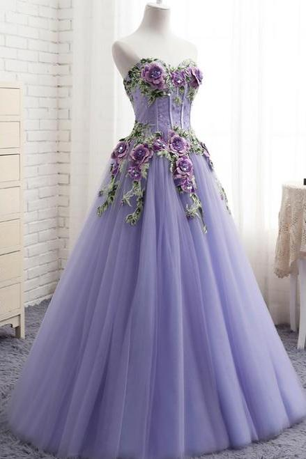 A-Line Purple Tulle Embroidery Appliques Sweetheart Neck Prom Dress,P3164