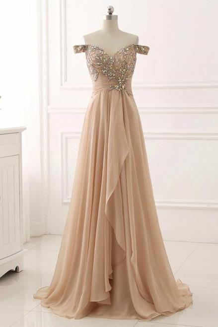 Champagne Chiffon Off The Shoulder Pleats Prom Dress With Crystal,P3166