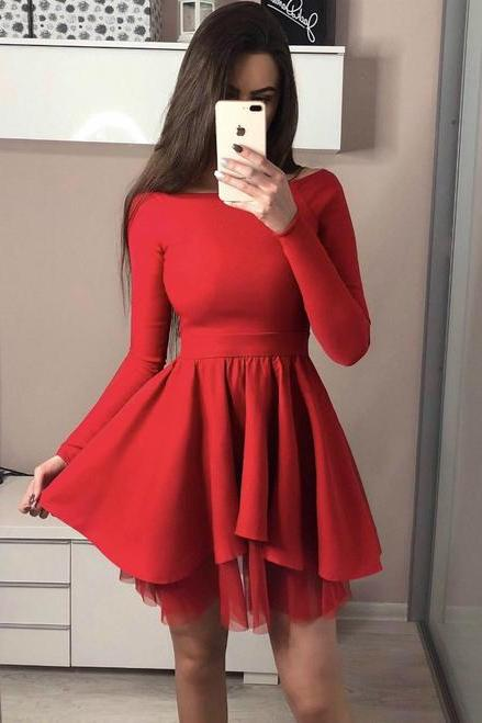 Long Sleeve Red Off the Shoulder Short Homecoming Dresses,H3169