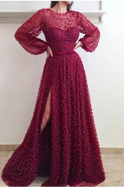 2018 Luxury Evening Dresses ,Beaded Lace with Puffy Long Sleeves, Side Split Bling Rhinestones Pearls, Bow Belt Plus Size Prom Gowns,Custom Made,2018 New Fashion,P3197