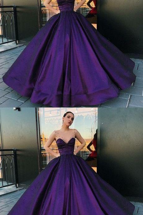 A-Line Round Neck Floor-Length Purple Satin Prom Dress With Pearls,Charming Prom Gown,Party Dresses,Fashion Prom Dress,P3201