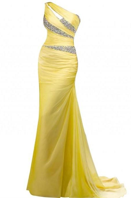 Mermaid One Shoulder Long Chiffon Beading Prom Dresses,P3204