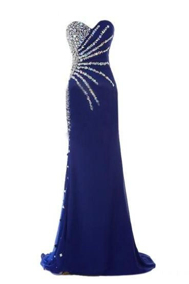 Stunning Sweetheart Sleeveless Beaded Crystal Royal Blue Prom Dresses Mermaid,P3209