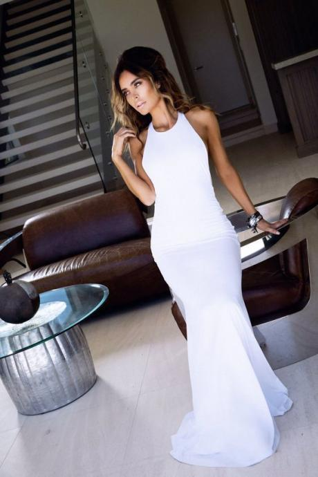 New Arrival Mermaid Prom Dress,Long Evening Formal Dress,Backless Evening Gown,Formal Dress,White Women Dress,P3218