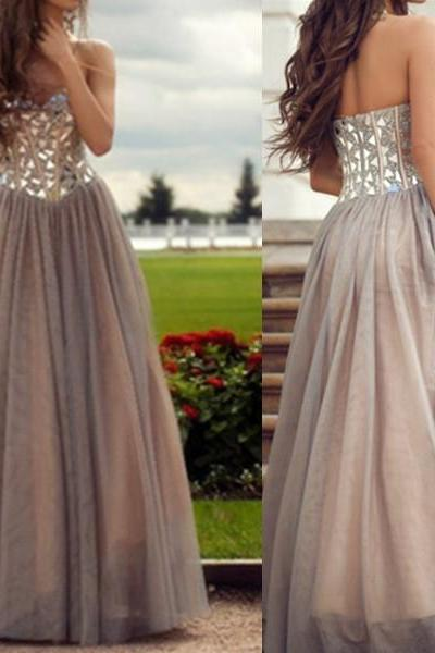 Handmade Grey Prom Dresses, Rhinestones A-Line Sweetheart Prom Dress,Neckline Floor Length Prom Dress Party Dress,P3224