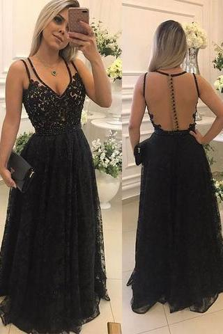 Black Lace Prom Dresses Long with Illusion Back Elegant Formal Evening Gown Party Dress Senior Junior Custom Plus size 2018,P3239