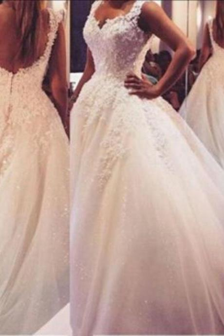New Arrival Pearls Lace Wedding Dresses 2016 Backless Beaded Ball Gowns Bridal Gown Sexy Applique Luxury Bridal Gown Plus Size,W3243