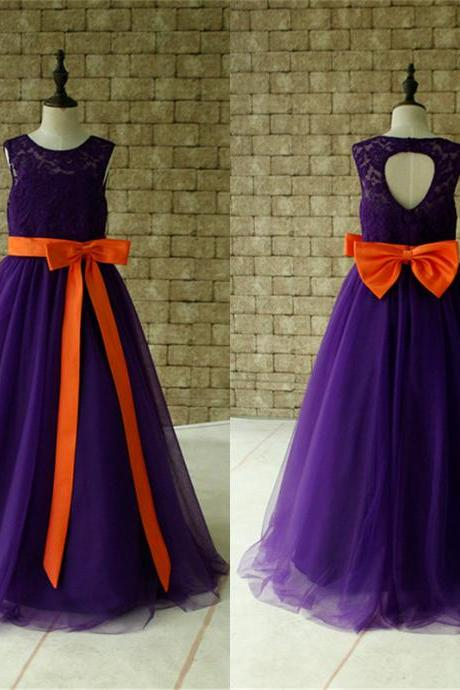 Purple Lace Flower Girl Dress Floor Length with Orange Sash and Bow Birthday Dress Made For Girls,FG3246