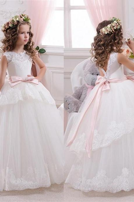 Princess Ball Gown White Lace Flower Girls Dresses For Weddings 2016 Tulle Belt Bow Knot Custom First Communion Dress Gown ,FG3247