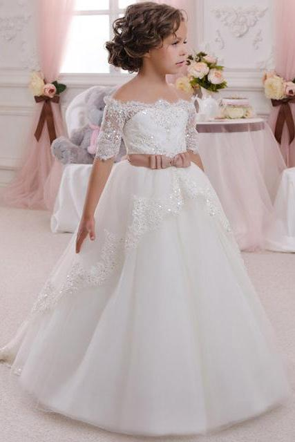 Lace Half Sleeves With Belt White Kids Evening Ball Gown Flower Girl Dress 2016 First Communion Dresses For Girls ,FG3251