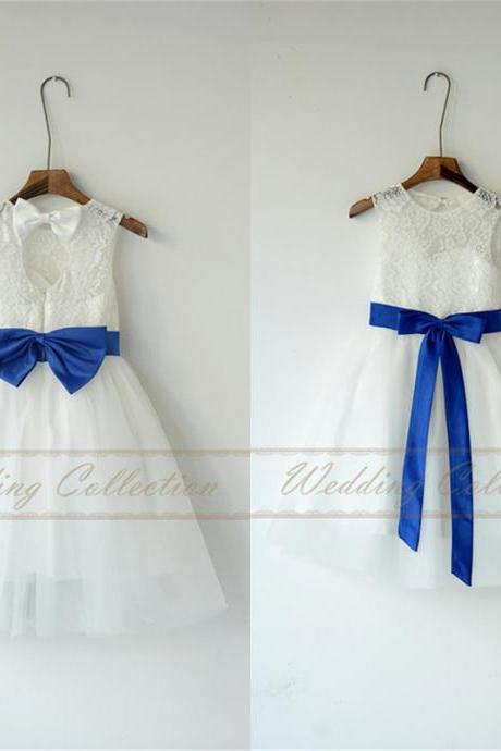 Ivory White Lace Tulle Flower Girl Dress With Royal Blue Sash and Bow ,FG3252