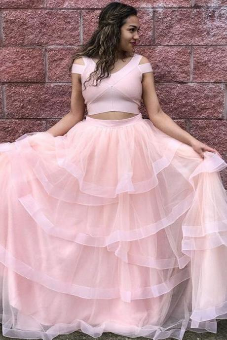 Pink Long Two Piece Prom Dress Tulle Evening Dresses Prom Gown,P3254