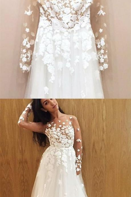 A-Line Illusion Round Neck Long Sleeves Sweep Train Wedding Dress with Appliques,P3261